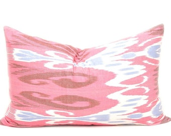 Pink Lumbar Pillow Case, Body Pillows, Throw Pillow Cover, Decorative Pillow Cover, Lumbar Pillow Cover, Ikat Pillow Cover, Bed Pillow Cover