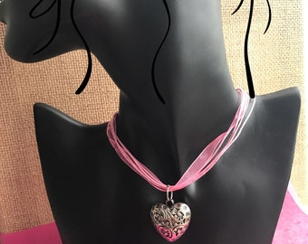 "Heart Pendant ""Springtime"" on Organza Ribbon Necklace - Boho/Hippie/Bridesmaids/Birthday/Anniversary"