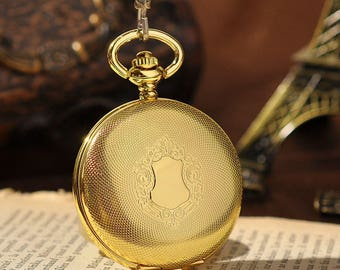 Golden Mechanical Analog Pocket Watch With Necklace Chain