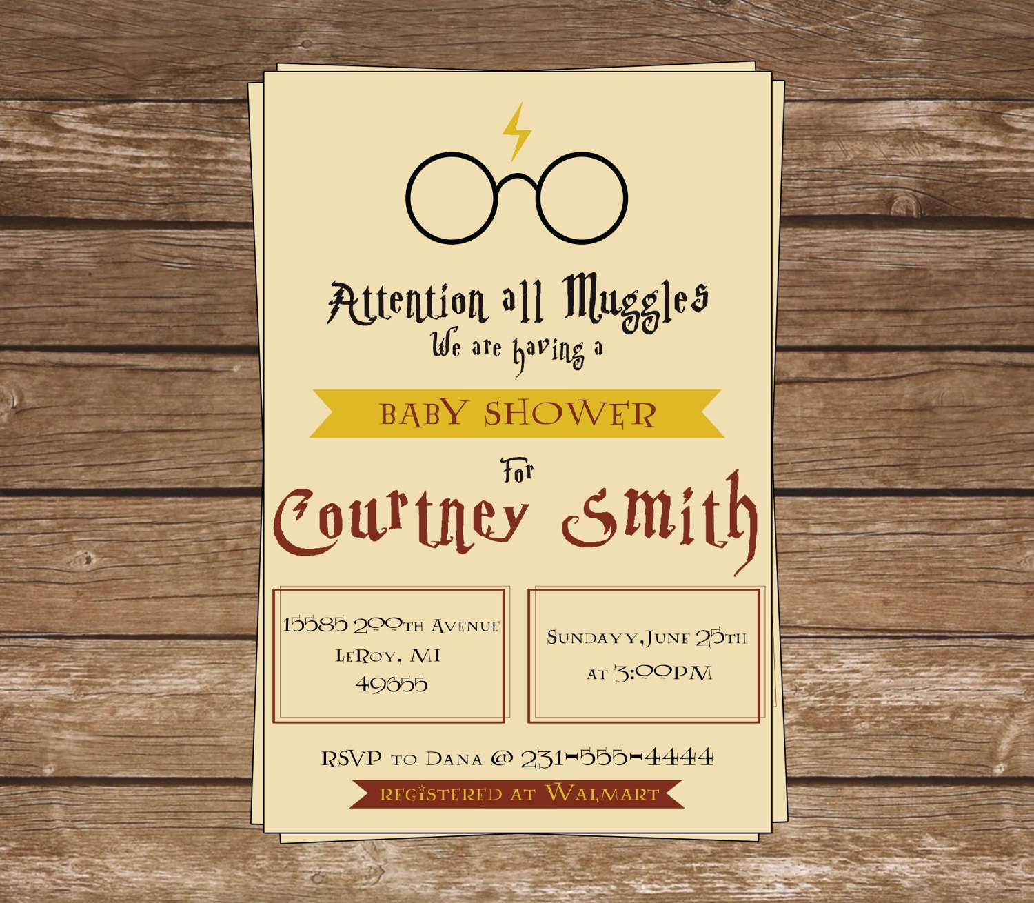 Harry Potter Baby Shower: Harry Potter Baby Shower Invitation-Harry Potter-Muggle
