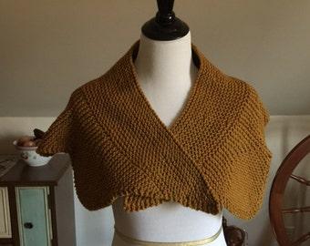 Hand-knit Rustic Wool Shawlette