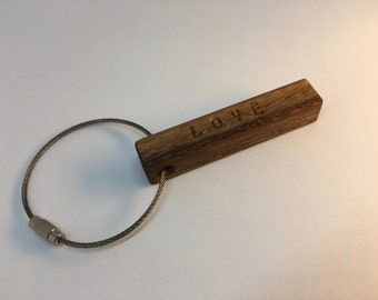 KEY ring made of oak with vanity name