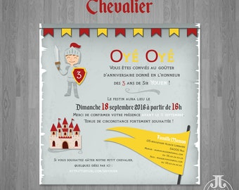 Knight • Child birthday invitation printable • Shield • Castle • Sword