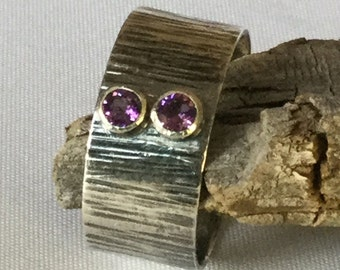 Sterling Band Ring, Textured Band Ring, Gemstone Ring, 2 Stone Ring, Custom Mothers Ring