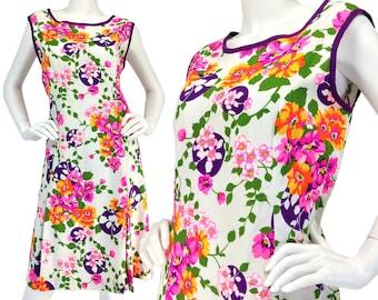 Vintage Clothing, 60s Dress L, Mod Dress, Floral Print Dress, Sleeveless Dress, Cotton Dress, Shift Dress, Summer Dress, Flutterbye, SIZE L