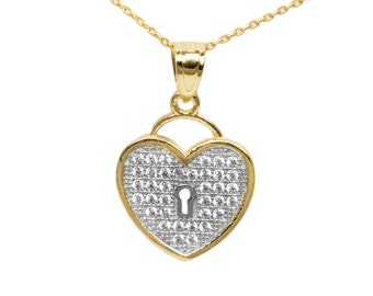 10k Yellow Gold Cubic Zirconia Heart Necklace