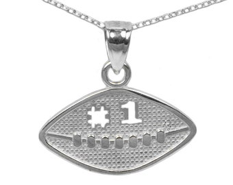 925 Sterling Silver Football Necklace