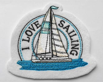 Patch maritim sailboat I LOVE SAILING Applikation gift for lovers of the sea
