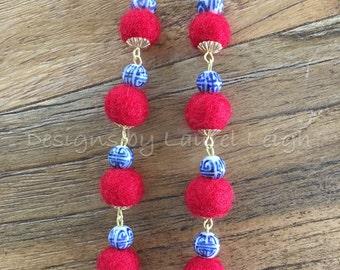 Pom Pom Earrings   Mini, RED, blue and white, royal blue, chinoiserie, gold, beaded, dangle, pompom, bonbon, red white and blue