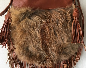 Brown women's bag, real leather with elements of fashionable leather fringe, fox fur, designer bag, handmade, new collection, size-small.