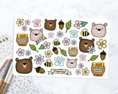 Bears & Bumble Bees ILLUSTRATED STICKERS | Stickers for Planners, Journals, Scrapbook Supplies | Hand Drawn | Bears | Flowers | Leaves | Bee