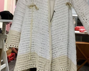 Crochet Coat Cardigan Boho Gypsy White
