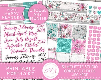 Monthly Planner Kit, Happy Planner Monthly Stickers, Editable Planner Stickers, Printable Monthly Stickers, Floral Planner Stickers, HPE102