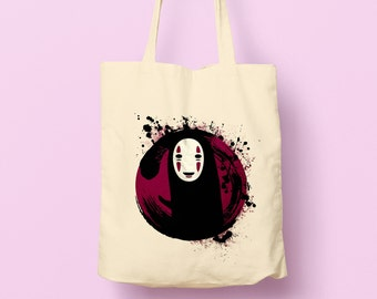 No Face Natural Tote Bag inspired by the popular Studio Ghibli film Spirited Away, girlfriend gift idea, birthday present, anime fan gift