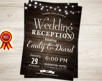 Rustic Wedding Reception Invitation. Printable Wedding Reception Invitation. String Lights. Western Wedding Reception Invite.  Wood. Retro