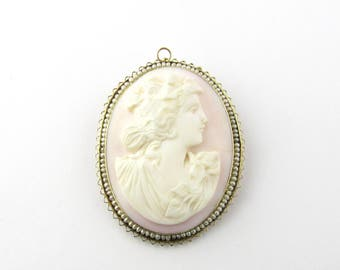 Vintage 14K Yellow Gold Rose Cameo Brooch Pendant #1547