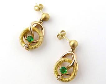 Vintage 14K Yellow and Rose Gold Emerald and Pearl Dangle Earrings #714