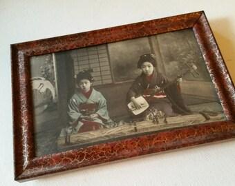 Japanese geishas ostcard, framed with glass