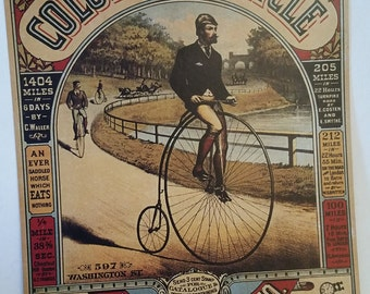 Tin sign, antique bike