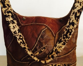 Stunning leather & leopard skin hand-stitched Artisan bag