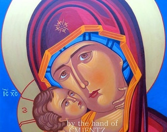 Mother of God of Tenderness ICON, Eleousa, hand of CMJENTZ. 9x12 signed, museum giclee