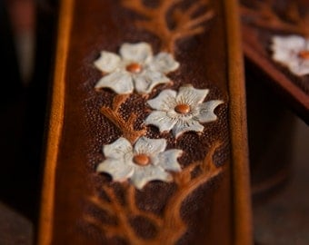 Leather Bracelet with hand tooled Magnolia sprig