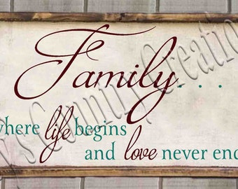 Family where life begins and love never ends simple  SVG, PNG, JPEG