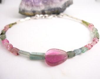 Tourmaline Bracelet Watermelon Multi Tourmaline Bracelet Beaded Bracelet Bracelet for Her Gift for Her