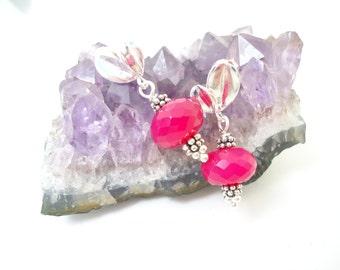Hot Pink Chalcedony Earrings Dangles Gift for her Gemstone Earrings Chalcedony Earstuds Sterling Silver Earrings Chalcedony Gemstone
