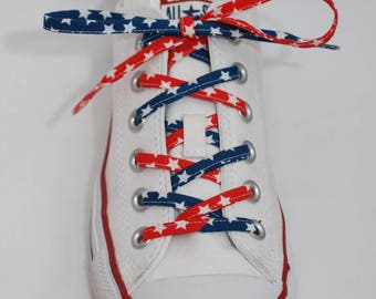 Cotton Shoelaces - Red, White, and Blue Stars