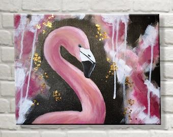 Original Modern Acrylic Painting - Flamingo - 30x40 cm
