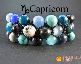 Personalized birthday bracelet gift Custom women jewelry Capricorn bracelet Zodiac beaded bracelet Multi gemstone jewelry Meditation stone