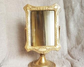 Vintage Mirror, Vanity Mirror, Table  Mirror, Metal  frame mirror, Dressing Table Mirror, Brass  frame mirror,Old  Mirror,