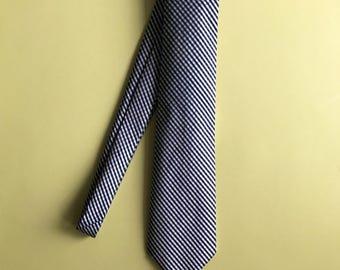 Blue, Navy, and Gold Checked Necktie Men's Tie