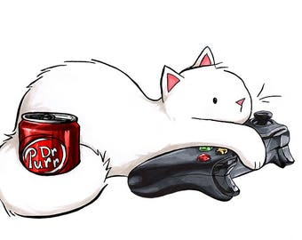 """Gamer Cat Dr Pepper Print 5x7"""" Xbox Soda Kitty Art Gift for Nerds and Video Gamers"""