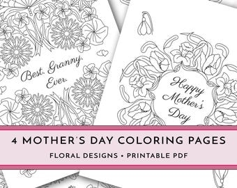 Printable Mother's Day Coloring Pages, DIY Happy Mother's Day Gift, Best Granny Ever, Best Mom Ever, I Love You Mom, Letter Size PDF Card