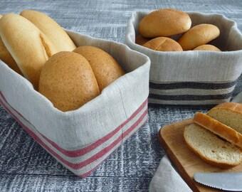 Linen basket, Fabric basket, Striped basket, Bread basket.