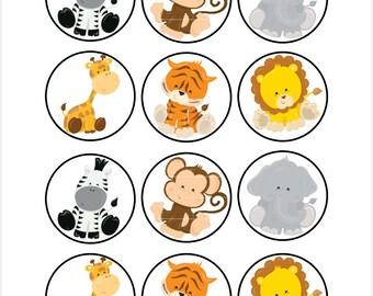 Edible Baby Safari Animals Cupcake Cookie Toppers