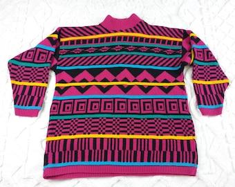 Vintage sweater size XL Bright Pink Black Green Yellow Geometric Stripe 1980s 1990s
