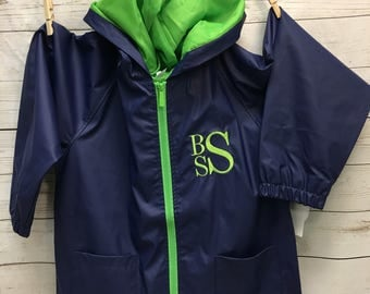 Personalized Boys Rain Jacket, Monogrammed  Boys Rain Jacket, Rain Jacket, Hooded Rain Jacket, Boys Rain Jacket, Boys Clothing, Boys jacket,