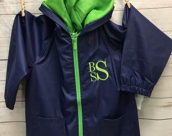 Personalized Boys Rain Jacket, Monogrammed  Boys Rain Jacket, Rain Jacket, Hooded Rain Jacket, Boys Rain Jacket, Boys Clothing, Boys jacket,