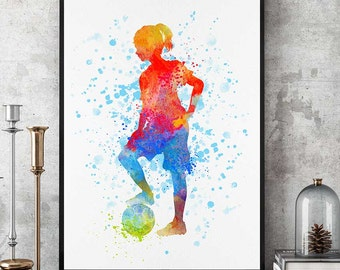 Soccer Kid Girl, Sports Print, Soccer Team Gift, Soccer Mom, Watercolor Print, Birthday Gift, Kids Room Decor  (N008)