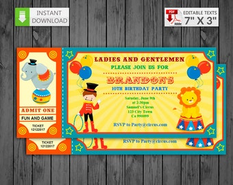 Printable invitation Ticket Circus in PDF with Editable Texts, Carnival circus Invitations, edit and print yourself! - Instant Download!