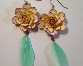 Flowers and Feathers Earrings