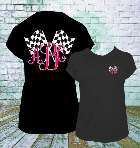 Racing monogram and checkered flag personalized t shirt for Racing t shirts custom
