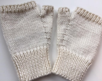 Hand knitted, silky feel, fingerless mitts - size S/M