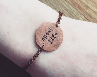 Custom Quote Rustic Copper, Smashed Penny Bracelet