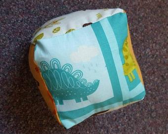 "Dinosaur Stuffed Baby Block - 4.5"""