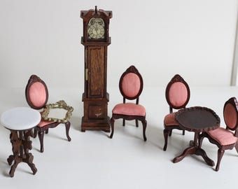 Vintage Dollhouse Formal Chairs, Grand Father Clock, Mirror, and Tables Furniture Set