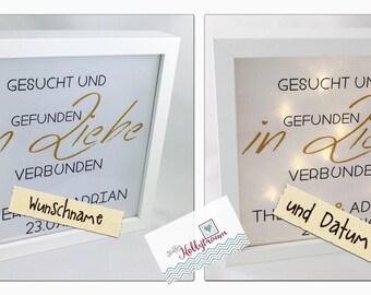 "Star foil frame ""wedding, personalized,..."", shadow box, Shadowbox, lightbox"